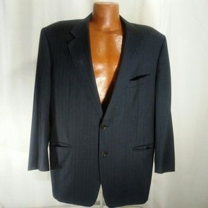 Canali Black Pinstriped Sports Coat Blazer 56R
